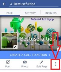 Tap on three vertical dots in facebbok page profile
