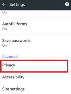 Under advanced option tap on privacy