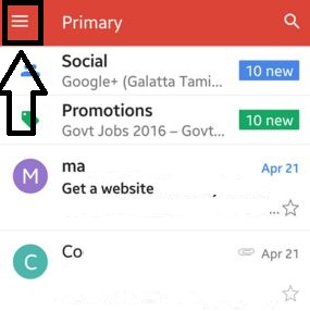 click on three horizontal line in gmail app