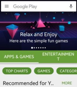 CLick on three horizontal line play store