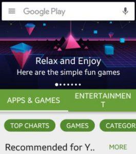 CLick on three horizontal line play store