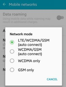 How to change network mode android lollipop