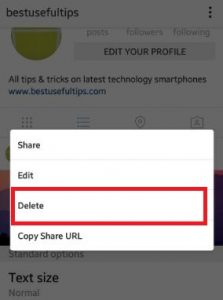 How to delete instagram photos android phone