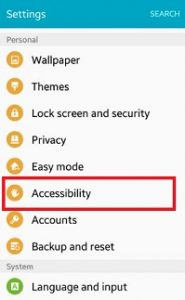 Tap on accessibility under personlal section