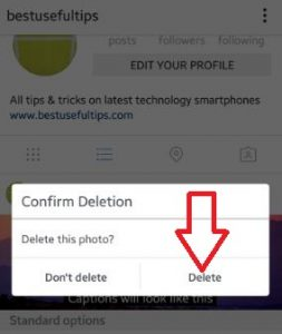 delete instagram photos android phone