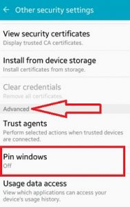 tap on pin windows under advanced section