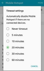 How to change mobile hotspot timeout settings android