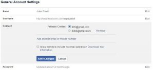 change facebook email address android