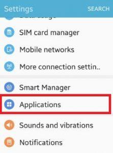 open-application-under-settings