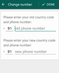 change WhatsApp number android