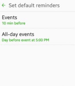 set default reminders android
