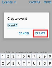 create events on gallery app android