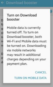 enable download booster android