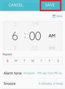 set alarm clock android