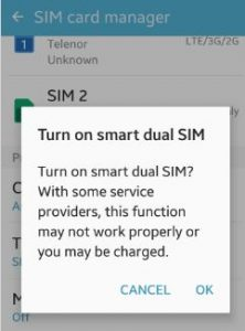 turn on smart dual SIM android