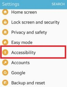 Accessibility settings on phone
