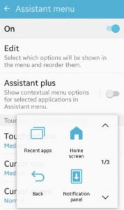Assistant Menu settings android phone