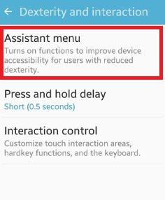 Assistant menu under dexterity & interaction settings
