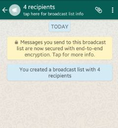 Ceate Broadcast list group in WhatsApp