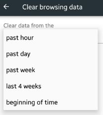 Clear browsing data time set on android