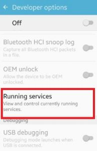 Running services settings under developer options