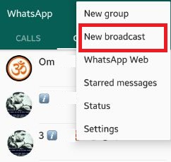 Tap on new broadcast list in WhatsApp