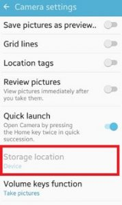 change camera storage location android