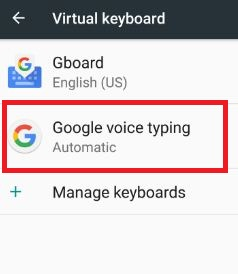 Google voice typing setting in android N