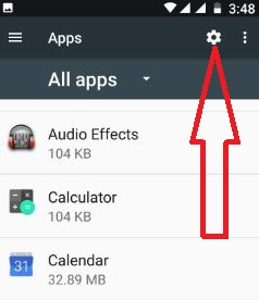 Tap on Settings icon under apps settings