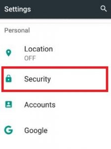 Tap on security under personal section in settings