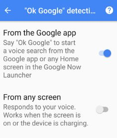 Turn on Ok Google android phone