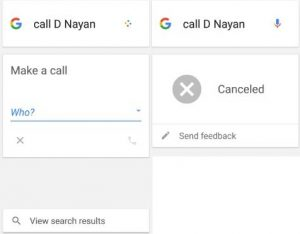 make a call using Google voice search