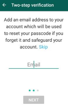 Add email address for WhatsApp two step verification