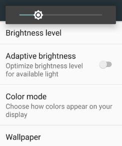 Adjust brightness on moto G4 plus nougat
