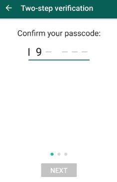 Confirm passcode in WhatsApp account