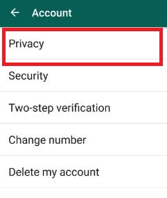 Privacy settings in WhatsApp android phone
