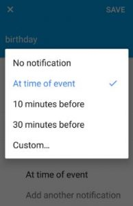 Set calendar event notification on moto G4 plus