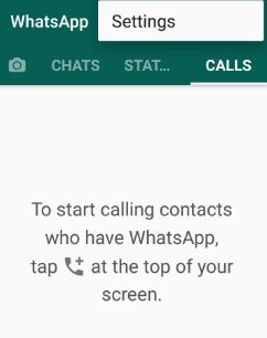 Settings in WhatsApp app android phone