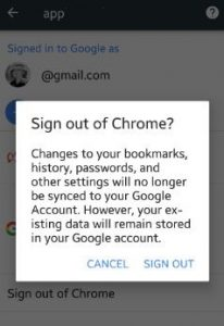 Sign out from Chrome browser