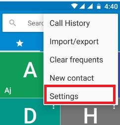 Touch settings in phone app
