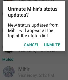 Unmute WhatsApp status update