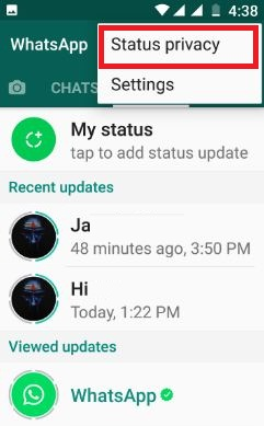 WhatsApp status privacy settings android phone