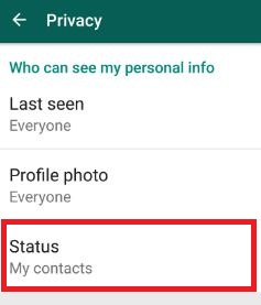 WhatsApp status settings android phone
