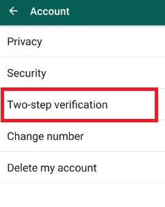 WhatsApp two step verification android