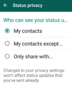 change whatsapp status privacy settings android
