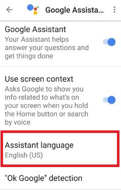 Assistant language settings in nougat