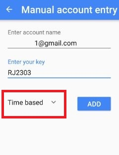 Enter account name and Key
