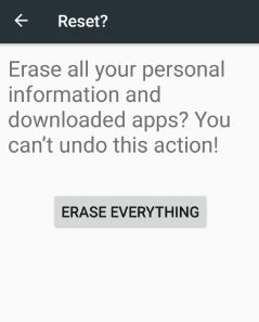 Erase or reset android phon 7.0 nougat