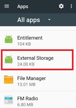 External storage under apps