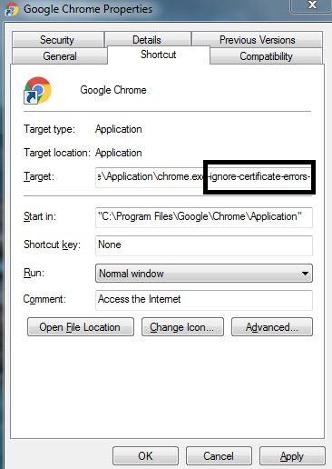 Fix SSL certificate error in Google Chrome